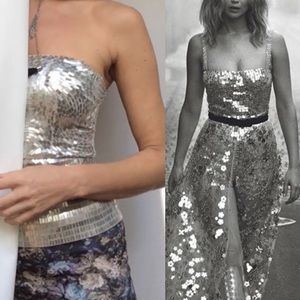 Alice + Olivia disco channeling Dior silver top